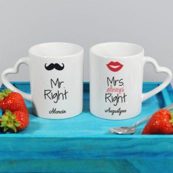 Personalizowane kubki dla pary Mr & Mrs Always Right