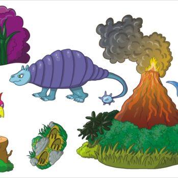 Zestaw naklejek - Dinozaury 2S 70x50cm