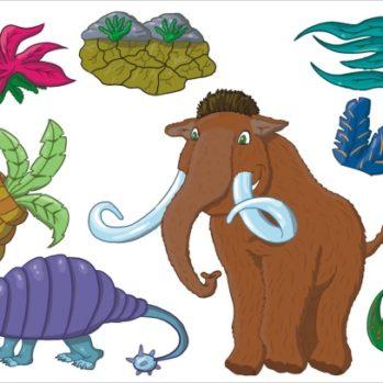 Zestaw naklejek - Dinozaury 3S 70x50cm