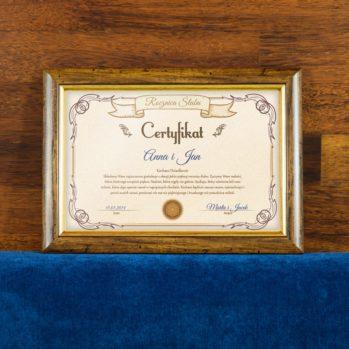 Certyfikat - Rocznica Ślubu Dziadków - Certyfikat obramowany 20x30cm