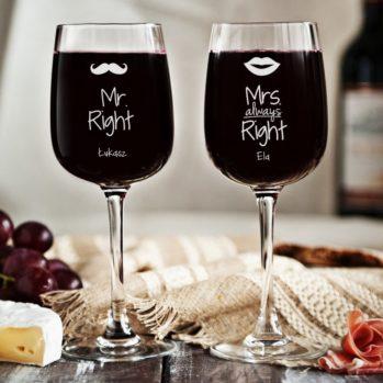 Mr&Mrs right - Dwa Grawerowane Kieliszki do wina - 2 Kieliszki Małe do wina